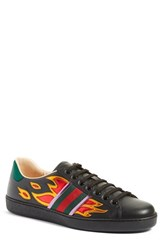 Gucci Men's 'New Ace Flames' Sneaker With Genuine Snakeskin Detail Black Leather