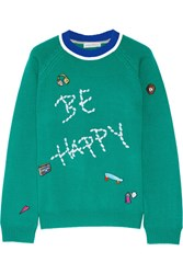 Mira Mikati Be Happy Embellished Merino Wool Sweater Forest Green