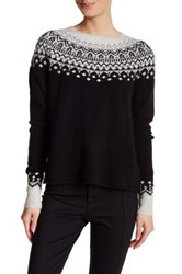 Joie Deedra Fairisle Wool Blend Pullover Sweater Black