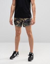 Good For Nothing Retro Shorts With All Over Camo Print Green