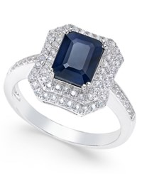 Macy's Blue Sapphire 2 Ct. T.W. And White Sapphire 1 Ct. T.W. Rectangular Statement Ring 14K White Gold