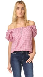 Caroline Constas Bardot Top Mini Red Gingham