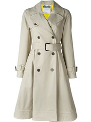 Moschino Caution Trench Coat Nude And Neutrals