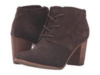 Toms Lunata Lace Up Bootie Chocolate Brown Suede Women's Lace Up Boots