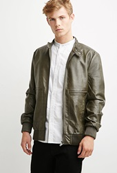 Forever 21 Faux Leather Snap Collar Jacket Olive