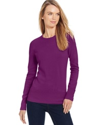 Jm Collection Petite Crew Neck Button Sleeve Sweater Only At Macy's Magenta Quartz