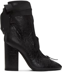 Valentino Black Crackle Leather Lace Up Heels