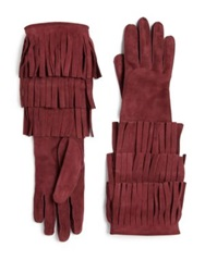 Burberry Prorsum Maureen Fringed Suede Gloves Mahogany Red