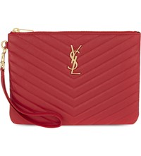 Saint Laurent Monogram Quilted Leather Pouch New Red