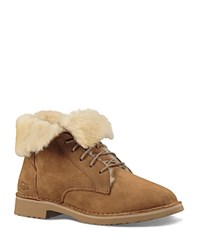 Ugg Quincy Leather And Sheepskin Lace Up Booties Chestnut