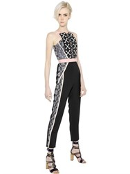 Peter Pilotto Crepe And Jacquard Jumpsuit With Lace