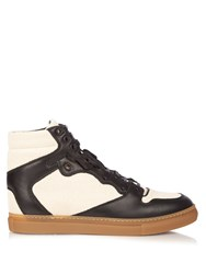 Balenciaga Multi Panel High Top Leather And Canvas Trainers