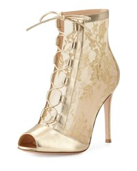 Gianvito Rossi Chantilly Lace Tie Front Bootie Gold Mekong Gold