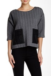 Shu Shu Elbow Sleeve Faux Leather Pocket Pullover