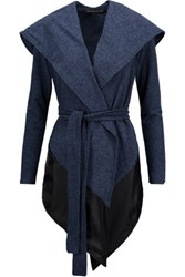 Live The Process Paneled Chenille And Satin Hooded Sweater Storm Blue
