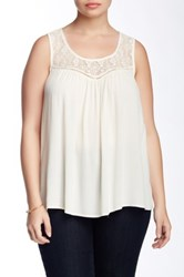 Eyeshadow Lace Yoke Tank Plus Size White