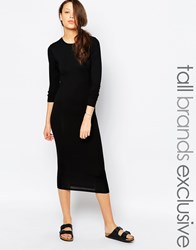 Taller Than Your Average Ttya Long Sleeve Midi Tube Dress Black