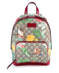Gucci Tian Garden Canvas Backpack Multi Coloured Beige Ebony Silver Brown Yello