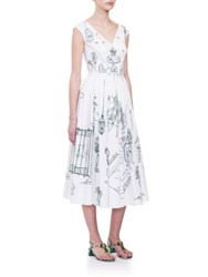 Dolce And Gabbana Garden Sketch Button Back Dress