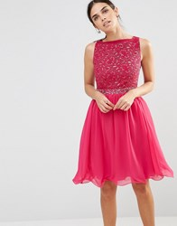 Laced In Love A Pink Fit And Flare Dress With V Line Back Pink