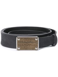 Dolce And Gabbana Metallic Logo Plaque Belt Black