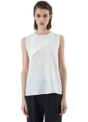 Agnona Sleeveless Pleat Top Ivory
