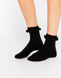 Monki Pom Pom Sock Black