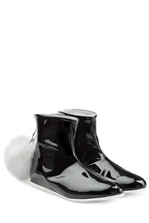 Joshua Sanders Patent Leather Boots With Fur Pom Pom Black