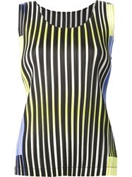 Issey Miyake Pleats Please By Striped Tank Top Black