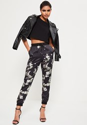 Missguided Black Floral Print Cuffed Joggers