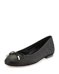 Odette Snake Ballet Flat Black Michael Kors Collection