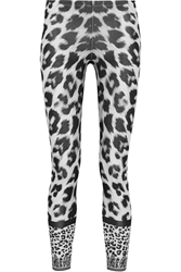 Versus Leopard Print Stretch Cotton Leggings White