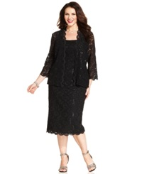 Alex Evenings Plus Size Sequin Lace Sheath And Jacket