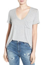 Lush Women's Deep V Neck Tee Heather Grey