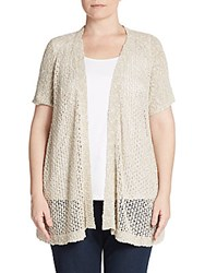 Eileen Fisher Plus Size Open Front Cardigan Natural