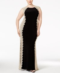 Xscape Evenings Plus Size Crochet Lace Column Gown Black Gold