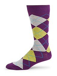 Saks Fifth Avenue Jasper Argyle Crew Socks Purple