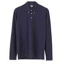 Jigsaw Cotton Pique Long Sleeve Polo Shirt Washed Navy