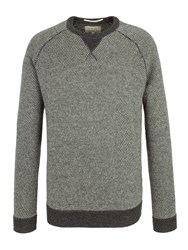 Racing Green Crofton Birdseye Raglan Knit Jumper Grey