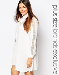 Alice And You Longline Lace Insert Folk Shirt Dress Cream
