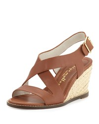 Bettye Muller Ponza Leather Espadrille Wedge Sandal Amber