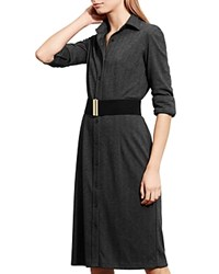 Ralph Lauren Petites Herringbone Shirt Dress Black Gray