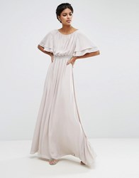 Asos Flutter Sleeve Maxi Dress With Embellished Waist Trim Grey