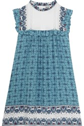 Sea Victoria Crochet Trimmed Printed Silk Mini Dress Blue