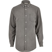 River Island Mens Grey Denim Shirt