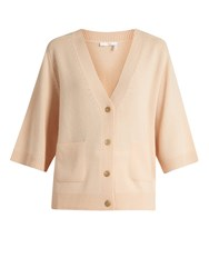 Chloe V Neck Cashmere Cardigan Light Pink