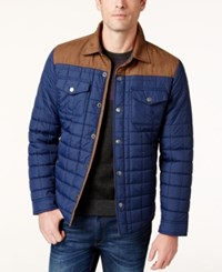Tasso Elba Quilted Colorblocked Jacket Only At Macy's Navy Combo
