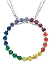 Giani Bernini Multicolor Cubic Zirconia Circle Pendant Necklace In Sterling Silver Only At Macy's