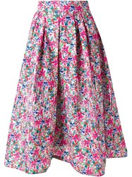 Dress Camp Floral A Line Skirt Pink And Purple