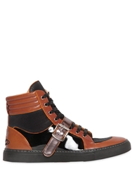 Vivienne Westwood Two Tone Leather High Top Sneakers Black Tan